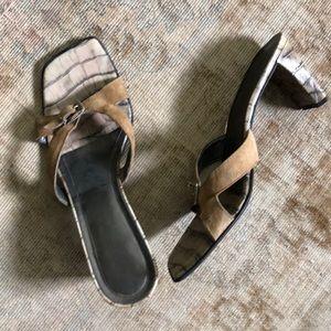 Franco Sarto Shoes - Franco Sarto tan faux croc leather slides sandals